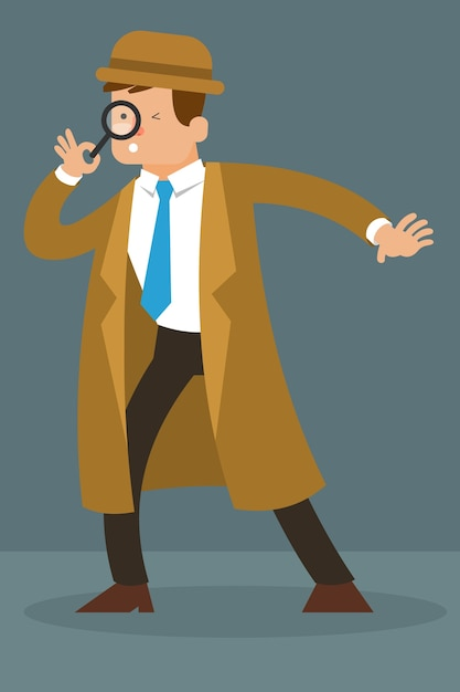 Detective character holding magnifying glass vector character Premium Vector
