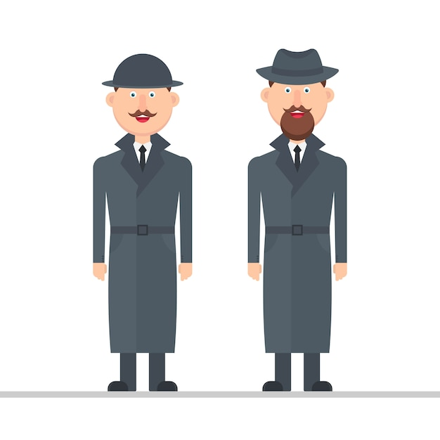 Detective character  illustration isolated on white background Premium Vector