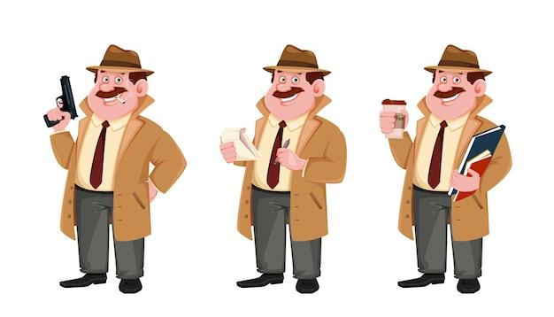 Детективный персонаж делает заметки. следователь Premium векторы