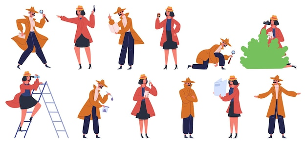 Детективный персонаж. частные детективы и инспекторы, мужчины и женщины, расследуют преступления и ищут улики. набор детективов полиции. офицер агента в пальто, женский и мужской Premium векторы