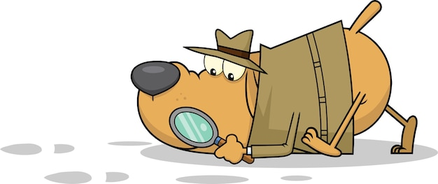 Детектив собака мультипликационный персонаж после улик. Premium векторы