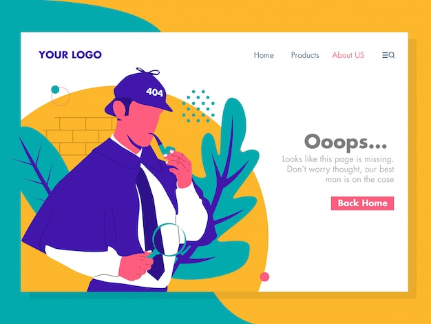 Detective error 404 illustration for landing page Premium Vector