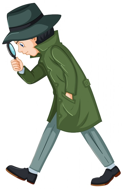 Detective in green overcoat with magnifying glass Free Vector