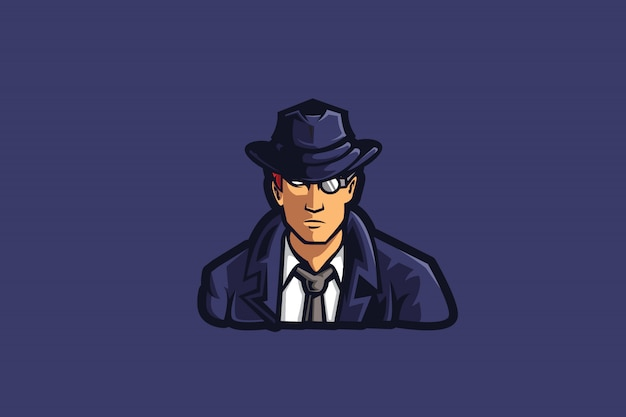 Detective guy e sports Premium Vector