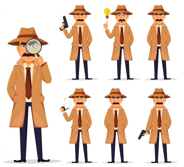 Detective in hat and coat, set Premium Vector
