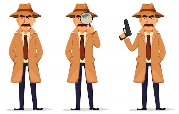 Detective in hat and coat Premium Vector