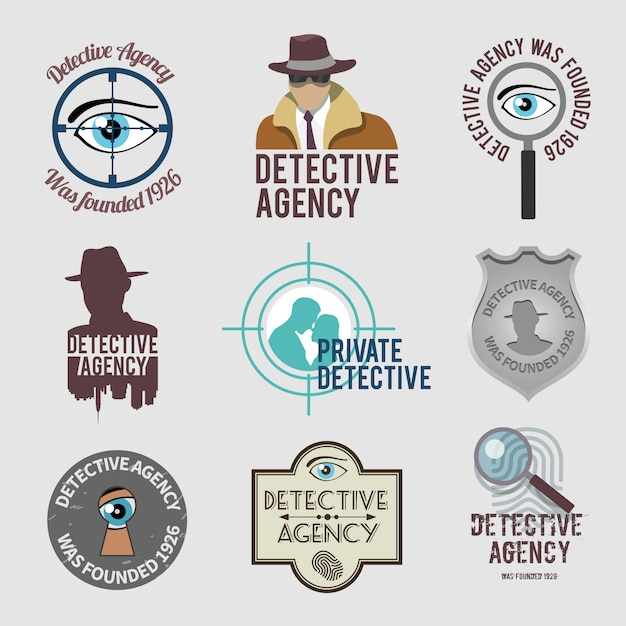 Detective label set Free Vector