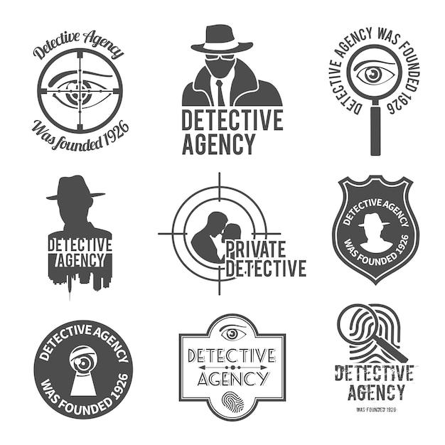 Detective logo set Free Vector