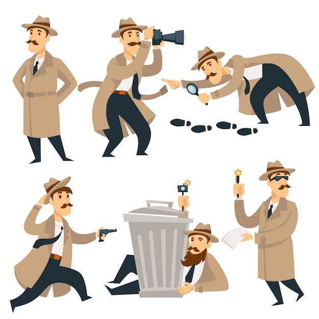 Detective man on investigation Premium Vector