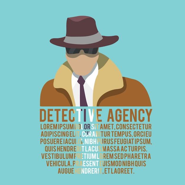 Detective silhouette text template Premium Vector