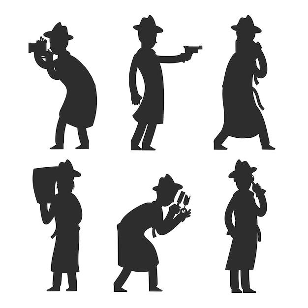 Детектив силуэты на белом. силуэты полицейских векторная иллюстрация Premium векторы