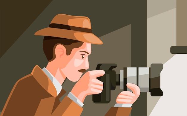 Детектив шпионит, прячась за окном и снимает фото с цифровой камеры в карикатуре Premium векторы