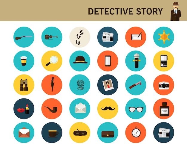 Detective story concept flat icons. Premium Vector