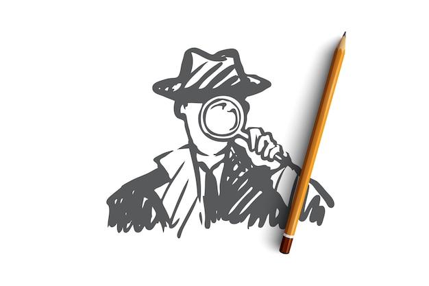 Детектив оружие увеличительное стекло инспектор полицейский детектив с увеличительным стеклом Premium векторы