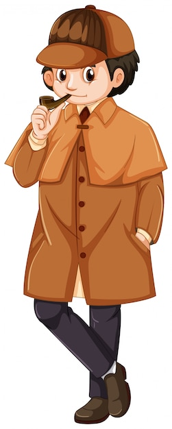 Detective wearing brown overcoat Free Vector