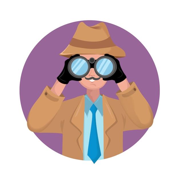 Detective with binocular on white background. Premium Vector