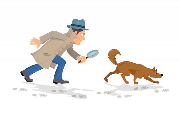 Detective with magnifying glass and tracker dog hunting traces Premium Vector
