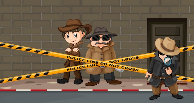 Detectives looking for clues at the crime scene Free Vector