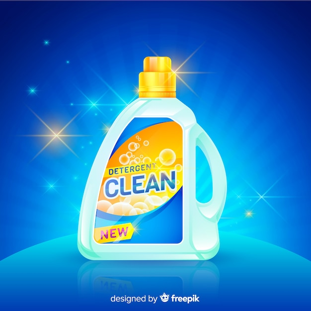 Detergent advertisement with realistic design Free Vector