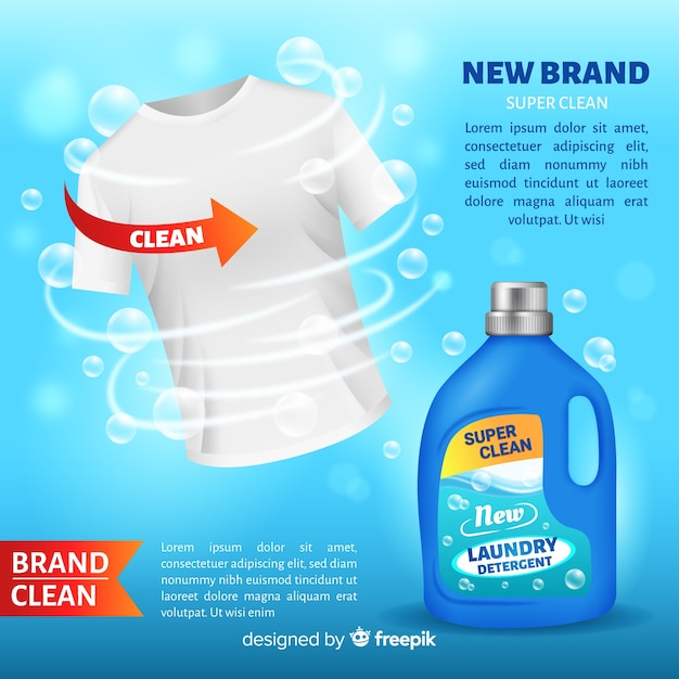 Detergent advertising with realistic design Free Vector