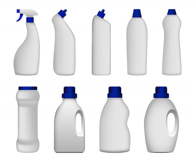 Detergent bottle clean mockup set Premium Vector