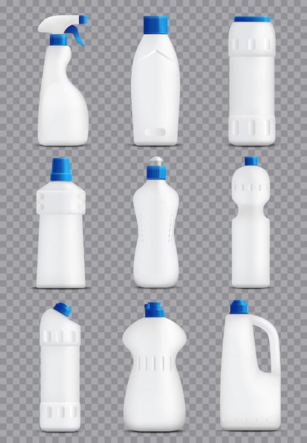 Detergent bottles packaging collection Free Vector