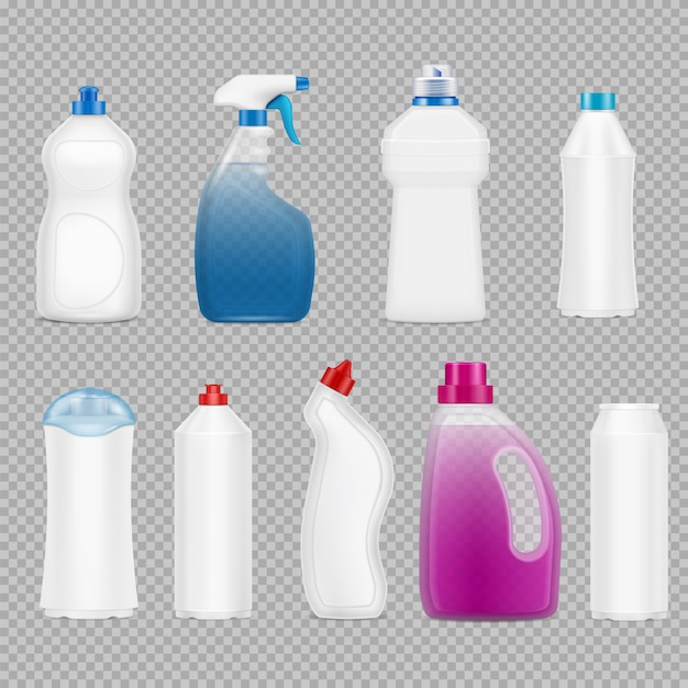 Detergent bottles set of realistic images on transparent with isolated plastic bottles filled with soap Free Vector