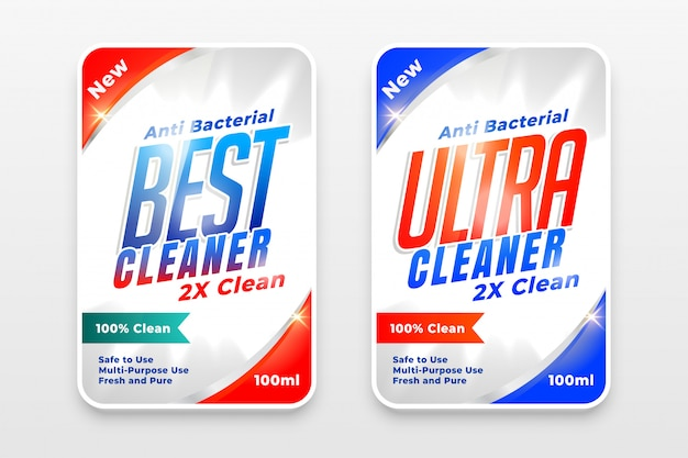 Detergent cleaner and disinfectant labels set of two Free Vector