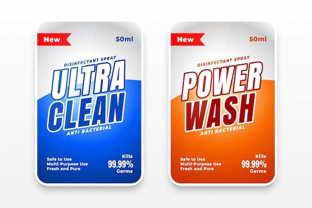 Set di due etichette detergenti detergenti e disinfettanti Vettore gratuito