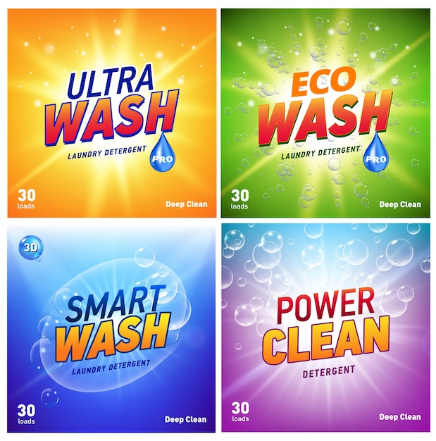 Detergent packaging concept  showing eco friendly cleaning and washing. detergent package with eco logo. Premium Vector