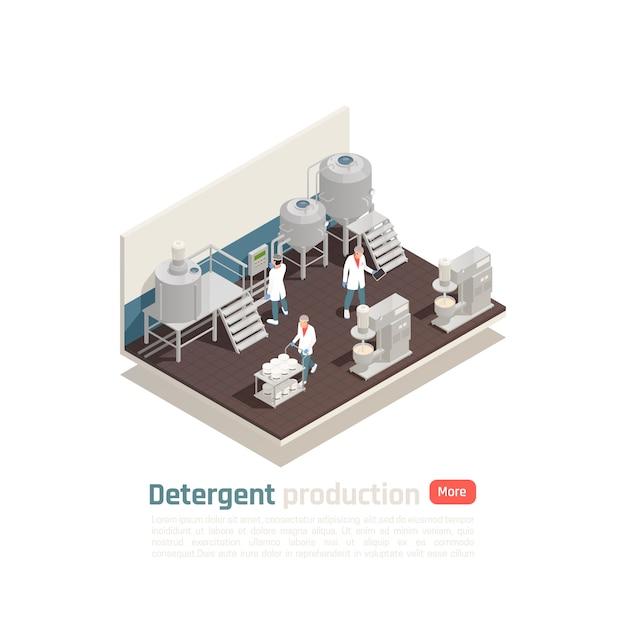 化粧品工場の作業工程を制御する白い制服を着たスタッフによる洗剤製造等尺性組成物 無料ベクター