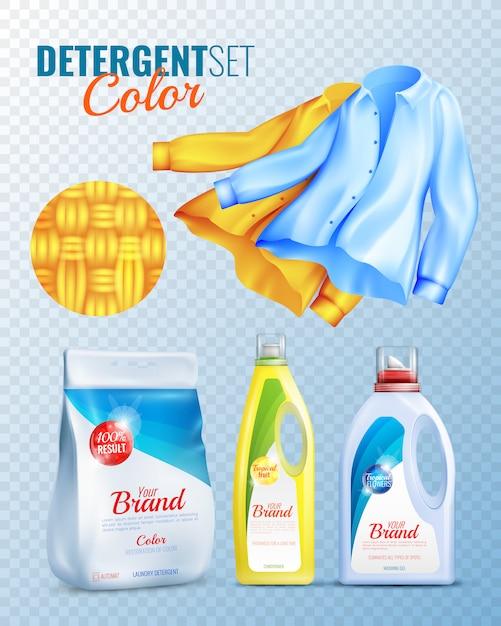 Detergents clothes transparent icon set Free Vector