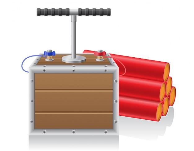Detonating fuse and dynanite vector illustration Premium Vector