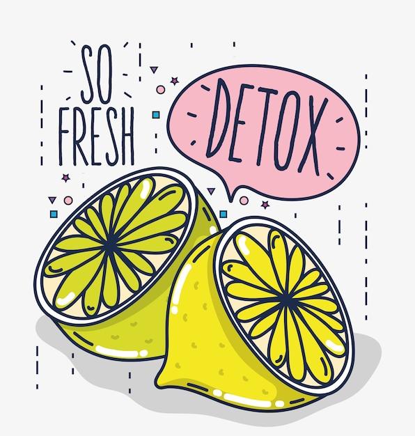 Detox and fresh fruits citric lemons Premium Vector