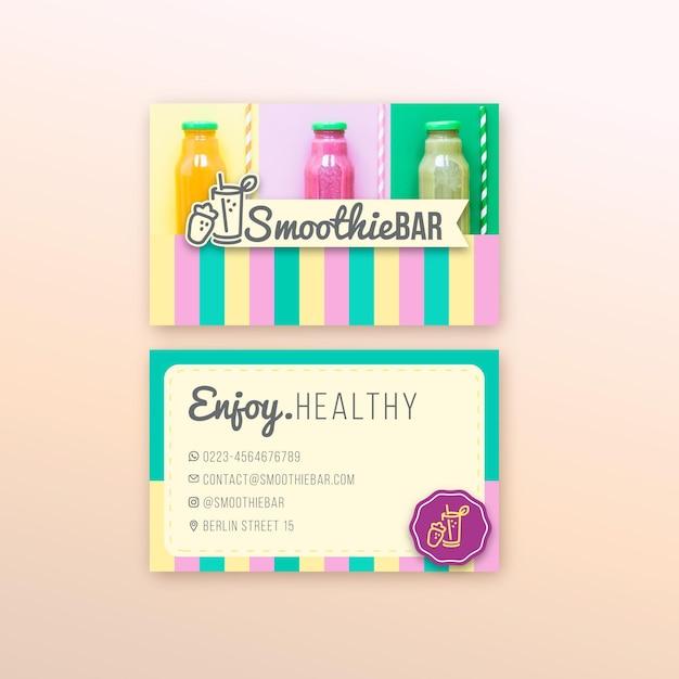Detox organic smoothie bar horizontal business card Free Vector