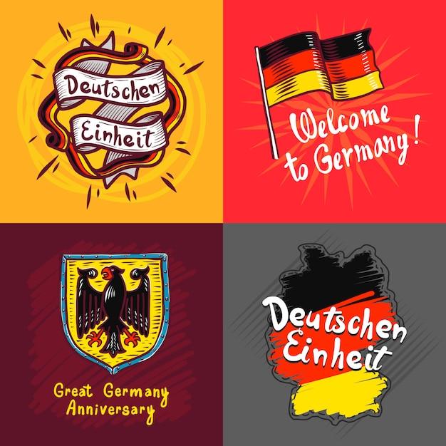 Deutschen einheit banner set Premium Vector