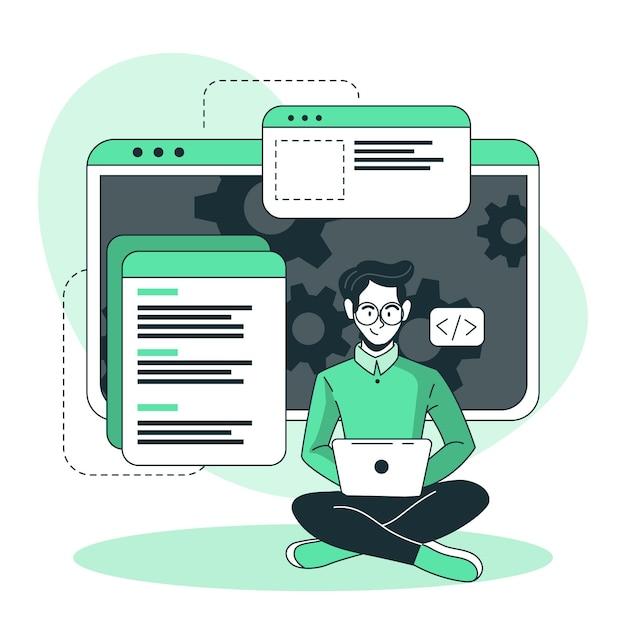 Иллюстрация концепции деятельности разработчика Бесплатные векторы