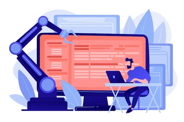 オープンロボットソフトを備えたラップトップおよびコンピューターの開発者。オープンオートメーションアーキテクチャ、オープンソースロボティクスソフト、無料開発コンセプト 無料ベクター