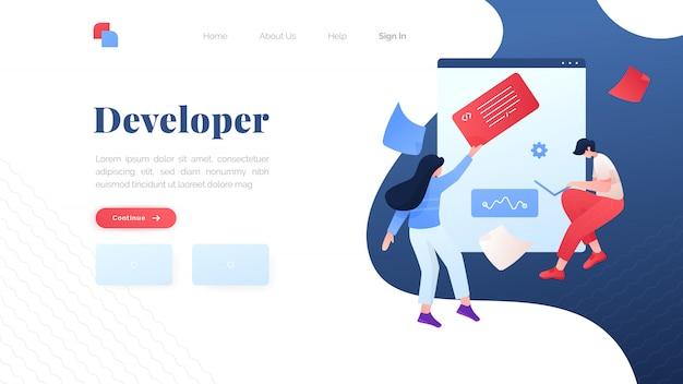Developer flat landing page Premium Vector