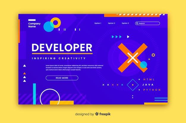 Developer geometric shapes landing page Free Vector