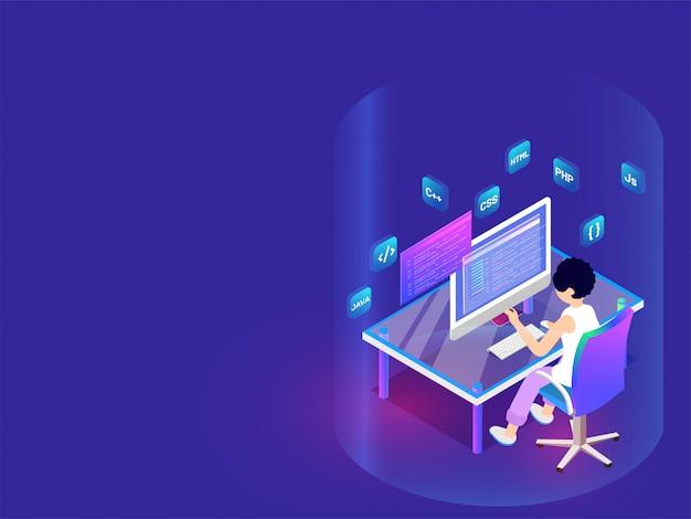 Developer working on desktop. Premium Vector