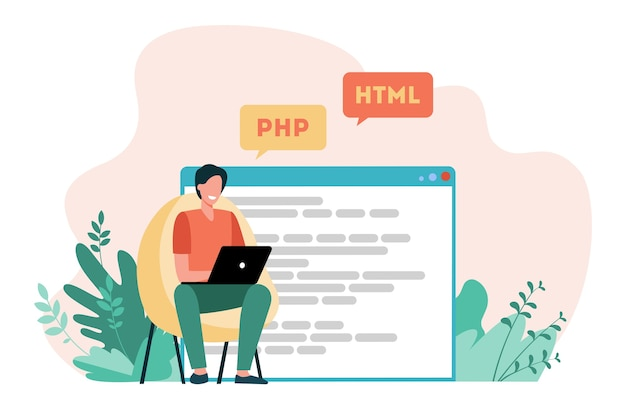 Developer writing code for website. laptop, computer, designer flat vector illustration. coding and programming Free Vector