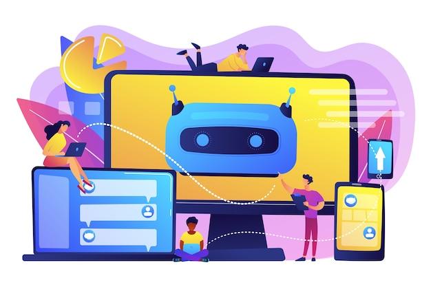 プラットフォーム上でチャットボットを構築、テスト、展開する開発者。チャットボットプラットフォーム、仮想アシスタント開発、クロスプラットフォームチャットボットの概念。明るく鮮やかな紫の孤立したイラスト 無料ベクター