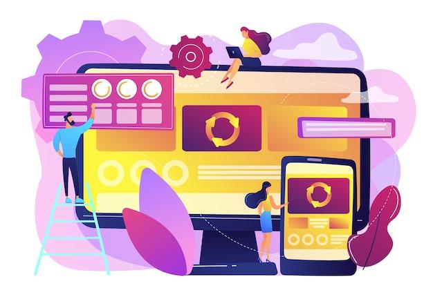 Sviluppatori su computer e smartphone che lavorano su app a pagina singola, persone minuscole. applicazione a pagina singola, pagina web spa, concetto di tendenza di sviluppo web. illustrazione isolata viola vibrante brillante Vettore gratuito