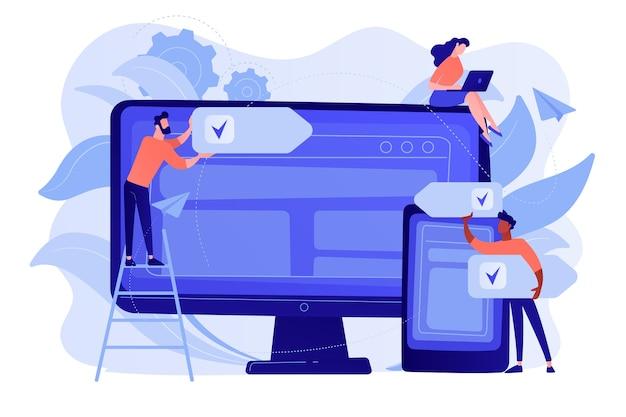 개발자는 여러 장치에서 소프트웨어를 사용합니다. 교차 플랫폼 소프트웨어, 다중 플랫폼 및 플랫폼 독립적 소프트웨어 개념 무료 벡터