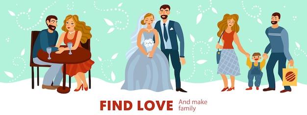 Развитие любовных отношений от романтических свиданий до создания семьи с ребенком пастелью. Бесплатные векторы