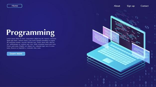 開発とソフトウェア。プログラミング、データ処理の概念。 Premiumベクター