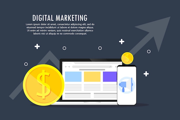 The development of digital marketing. Premium Vector