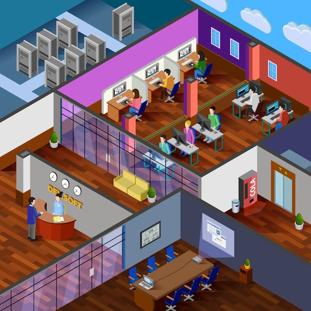 Development office isometric illustration Free Vector