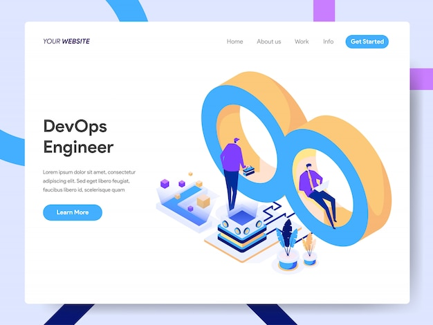Development and operations engineer isometric illustration for website page Premium Vector